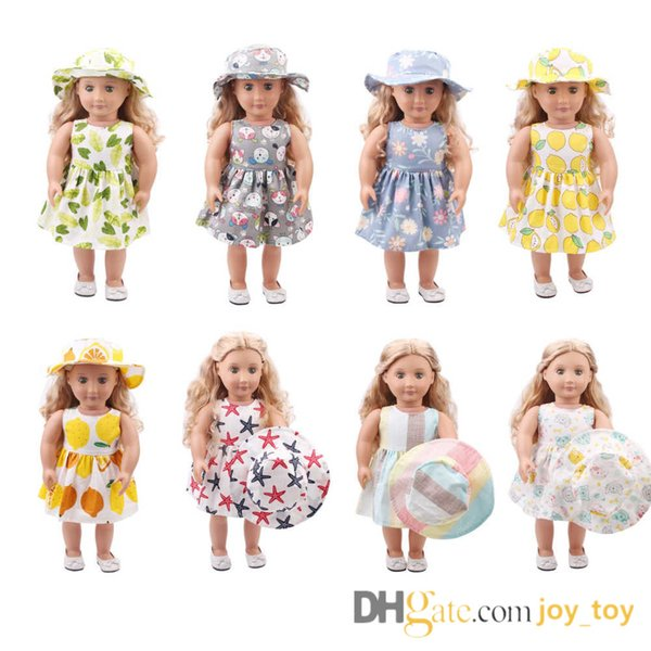 9 Styles 18 inch Doll One Piece Dress with Hat for 18 inch Doll Cloth Apparel
