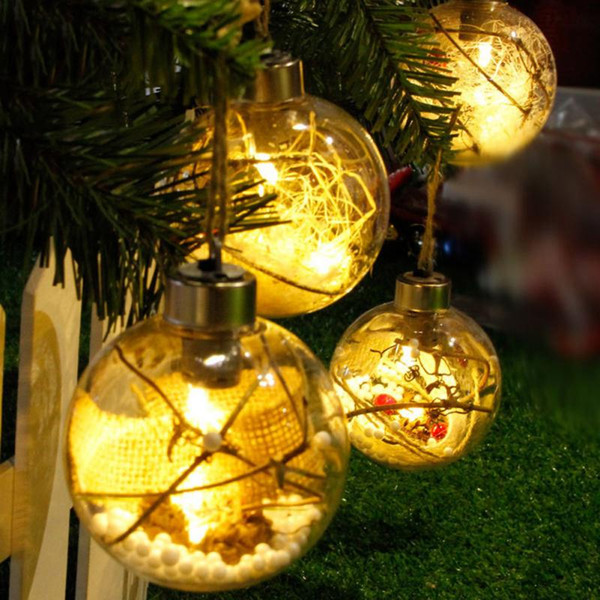 LED sfera trasparente luce albero di Natale appeso ornamenti decorazione di festa