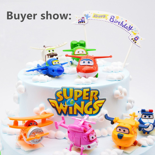 F50- 8pcs/lot Super Wings Mini Airplane ABS Robot toys Action Figures Super Wing Transformation Jet Animation Children Kids Gift