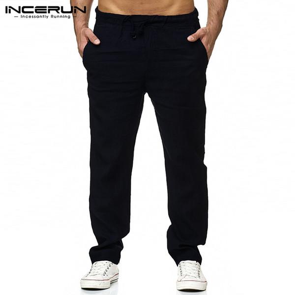 INCERUN Men Casual Pants Cotton Drawstring Slim Fit Retro Men Straight Pants Joggers Solid Color Streetwear Fashion Trousers