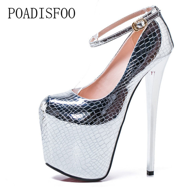 Designer Dress Shoes POADISFOO Super high-heeled With 20cm Hate High women's Snake Gold And Silver Sexy Nightclubs Plus Size MJL-6678-8