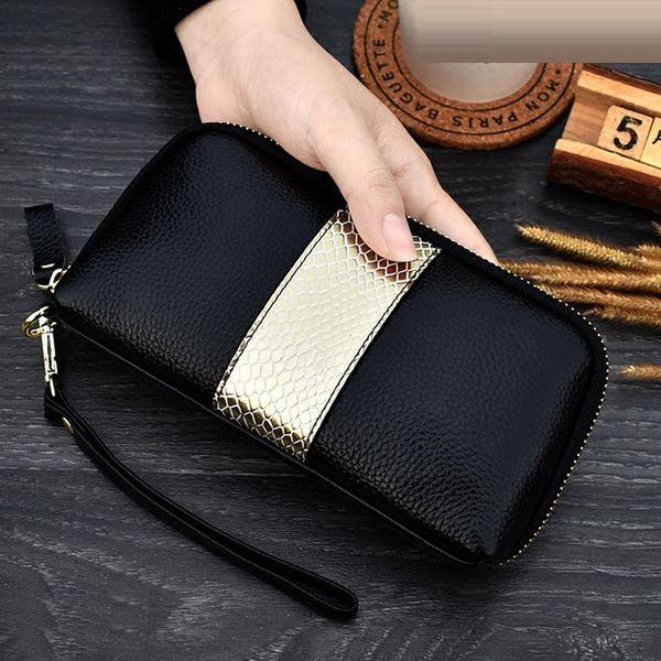NIGEDU bayanlar hakiki deri debriyaj çantalar panelli Uzun Kadın Cüzdan Fermuar bilek çanta kadın Sikke çanta Cep telefonu çantası bolsaMX190829