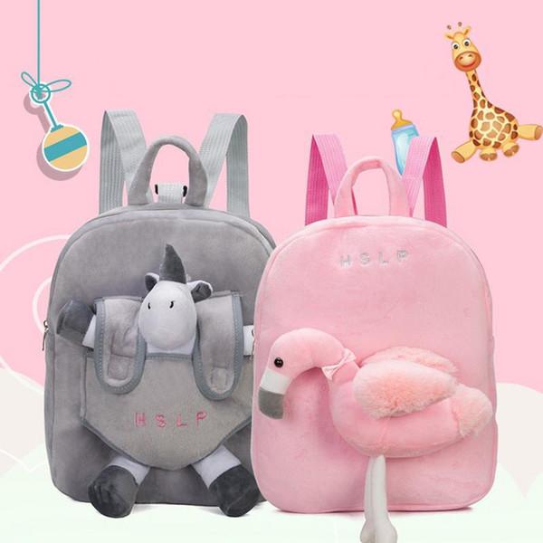 2 cor Dos Desenhos Animados mochila meninos meninas do jardim de Infância Flamingo Unicorn Criança Mochila 100% De Fibra De Poliéster Removível Saco de Ombro de Pelúcia c5