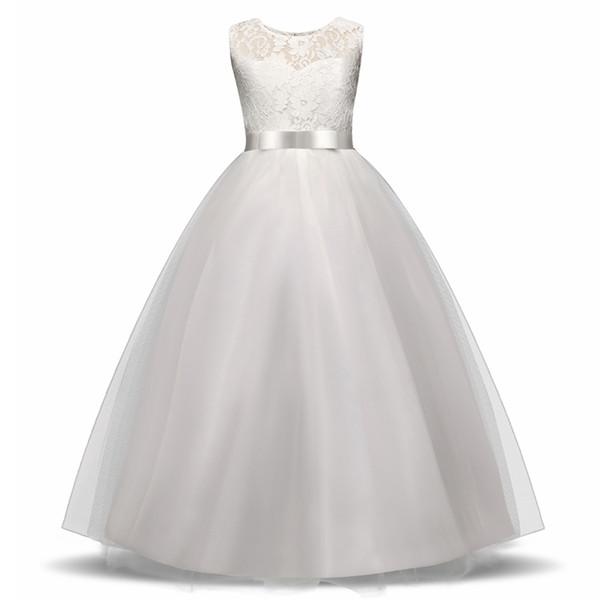 Elegant Flower Girl Dress Teenage White Formal Prom Gown For Wedding Kids Girls Long Dresses Children Clothing New Tutu Princess J190514