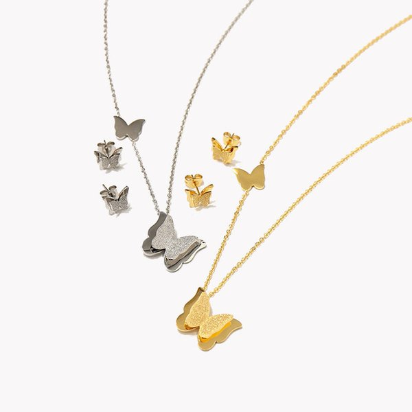 Luxury Charms Necklaces Animals Stud Earrings Fashion Butterfly Pendant Necklaces Earrings Set High Quality Womens Gold Silver Jewelry Sets