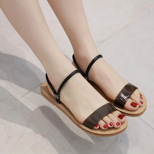 Женская обувь и сандалии Летние прозрачные плоские тапочки Повседневная обувь на плоской подошве для женщин Пляжные сандалии Женские шлепанцы