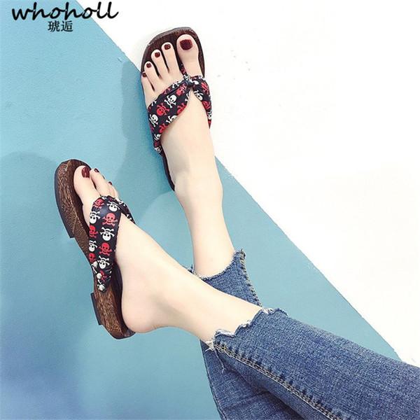 WHOHOLL Get Japanese Geta Sandals Women Summer Sandals Wooden Geta Flip-flops Slippers for Female Slides Skull Print Fashion