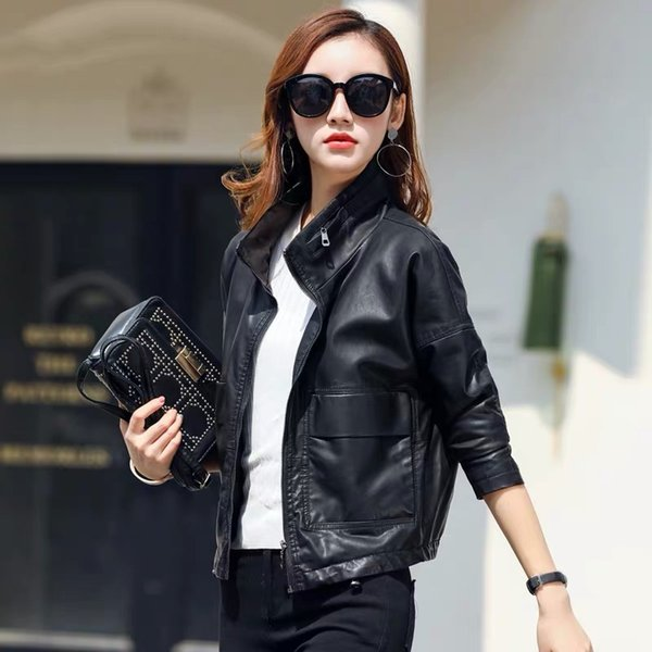 theme 21 pu leather jacket women new fashion black motorcycle coat short faux leather plus size casual biker jacket outerwear - from $35.04