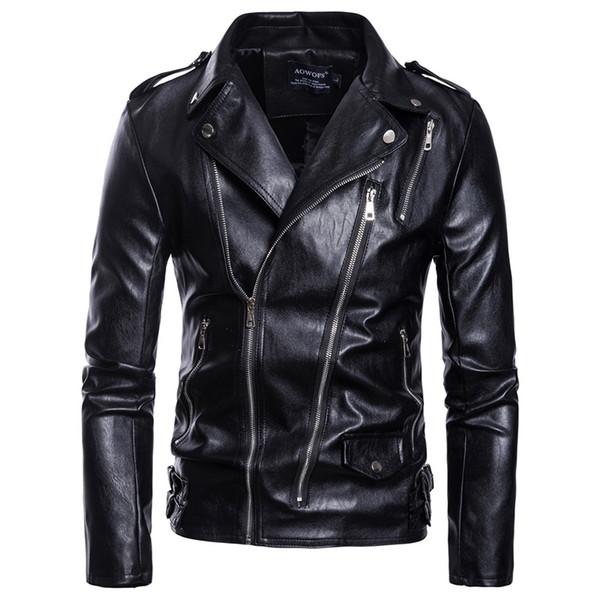 the latest a1d37 6ed51 Acquista Nuovi Giubbotti Di Pelle Uomo Slim Fit Giacche Maniche Lunghe Punk  Style Zipper Turn Down Collar Giacca Da Uomo A $58.62 Dal Ppkk | ...