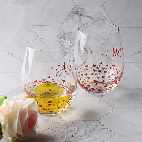 Пользовательские ручной работы 550 мл форма сердца золото наклейка оригинальность круглый стебель хрустальные бокалы стакан дешевые стеклянная чашка