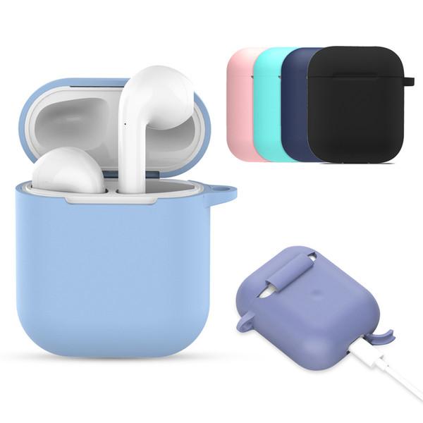 Pour Airpods Etui Air Pod Etui Pochette Etui de protection en silicone avec crochet pour AirPod Silm Etui