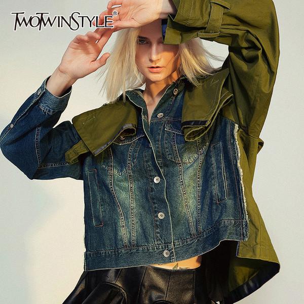 TWOTWINSTYLE Loose Fit Spliced Hit Farbe Short Jeansjacke New Revers langen Hülsen-Frauen Mantel Mode Gezeiten Herbst Winter 2019