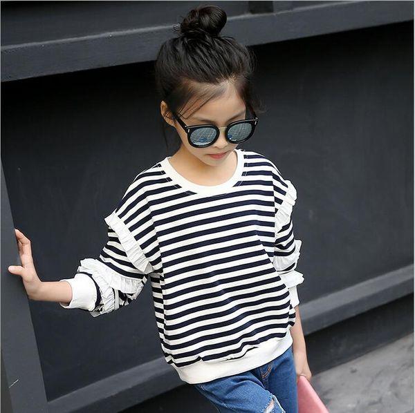 Neonate Tops bambini magliette autunno scherza i vestiti per adolescenti di modo delle ragazze nero / bianco a righe Felpa Tee Fille abbigliamento