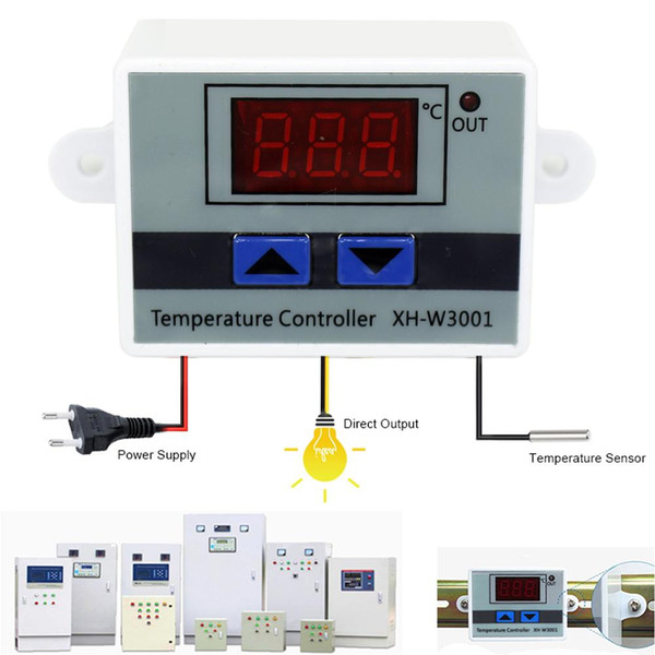 top popular 10A 12V 24V 220VAC Digital LED Temperature Controller XH-W3001 For Incubator Cooling Heating Switch Thermostat NTC Sensor 2021