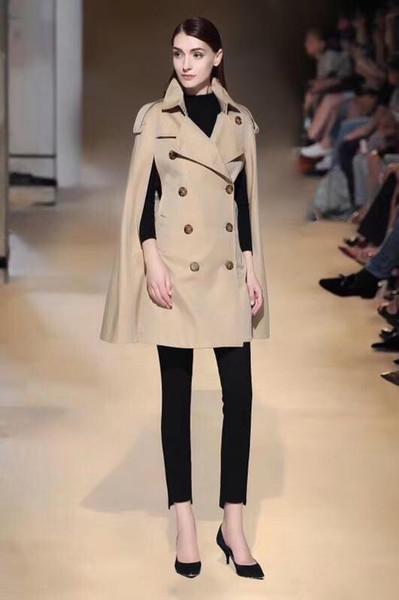 Cazadora rompevientos mujer larga suelta top impermeable color sólido doble botonadura estilo inglés otoño invierno cazadora capa 02IGU