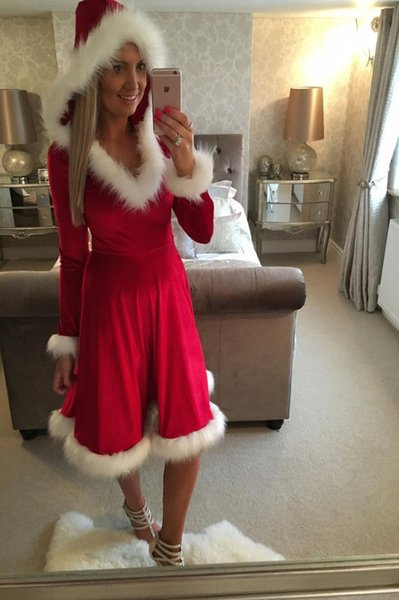 Emmababy 2019 New Brand Christmas Mother Daughter Red Dress Santa Velvet Family Matching Clothes