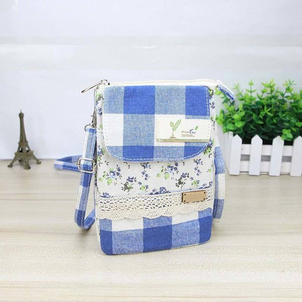 Sweet Ladies Fabric Lace Mini Phone Coin Crossbody Bags Lovely Women Girls Vintage Floral Grid Shoulder Bag Popular Fa1