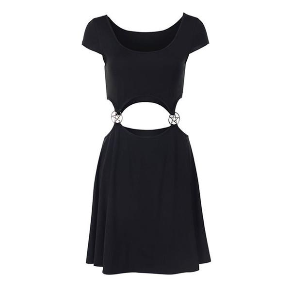 Gothic Mini Dress Women A Line Hollow Sexy Club Pentagram Backless 2019 Goth Causal Black Streetwear Hipster Girl Summer Dresses