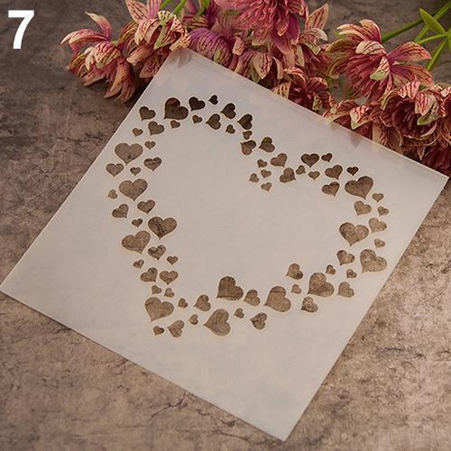 Al por mayor- Plantilla de pintura de moda Stencil Scrapbooking Album Cake Coffee DIY Art Decor