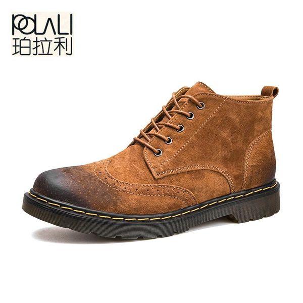 POLALI Hommes Cheville Bottes De Mode Printemps / Automne Chaussures En Cuir Véritable Hommes chaussures À Lacets Casual Nouveau Botte Court Marron Gris Vert