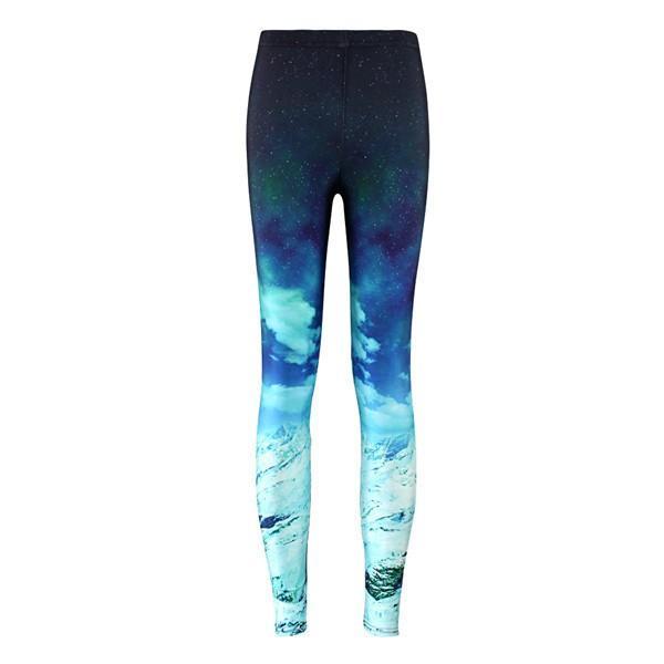 Star Digital Printed Blue Snow Mountain Bottom Pants Sports Fashion Elastic Yoga Fitness Pants