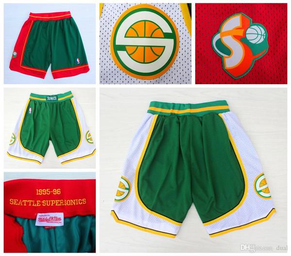 Hommes SeattleDurant SuperSonics 35 20 40 Payton Kemp authentique cousues Retro Short respirantPantalon classique Shorts de nba