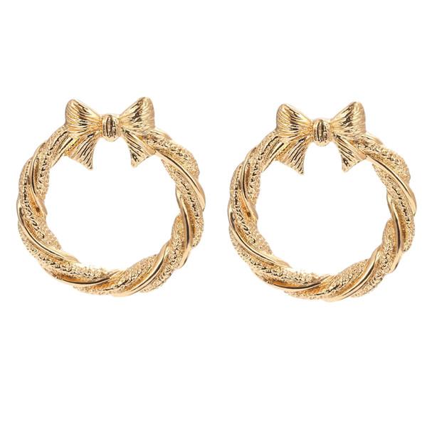 1 Pair Big Hoop Earrings Round with Bowknot Earrings Metal Clip On Jewelry for Women Girls Hypoallergenic Studs