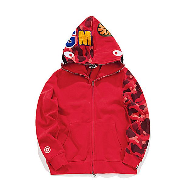Herbst winter neue hip hop streetwear stickerei shark camo spilce strickjacke baumwolle hoodie hochwertige männliche jacke pullover 3 farbe