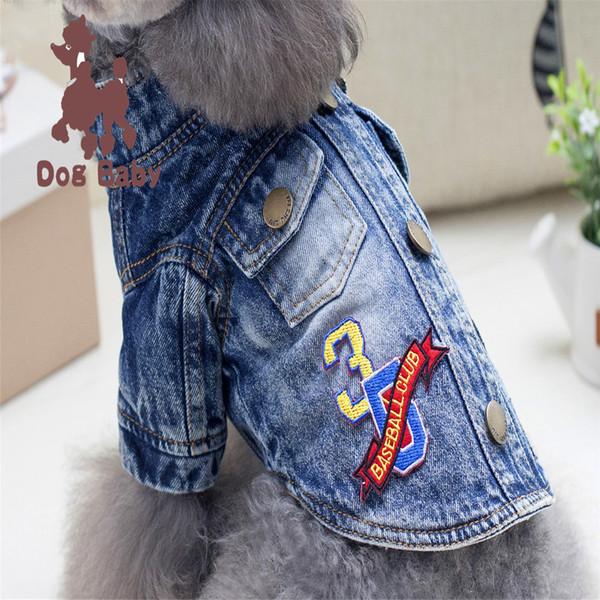 Küçük Köpekler Chihuahua Coat Kostüm Pet Köpek Yelek Gömlek Giyim Yaz Köpek Kedi Delik Denim tişört Casual Kovboy Ceket