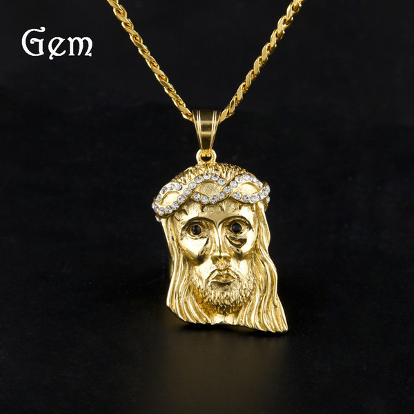2019 New 14K Gold Plated Jesus Head Charm Men Pendant Religious Catholic Jesus Face Piece Pendant Jewelry
