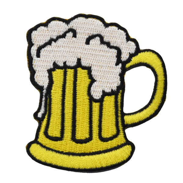 Wholesale Beer Embroidery Patch Iron On Sew On Clothes Applique For DIY Shirt Jacket Vest Free Shipping