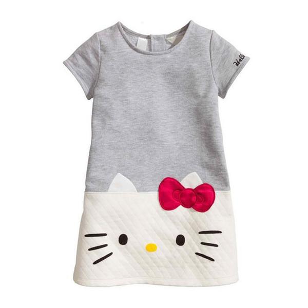 Vestiti caldi delle neonate Ciao gattino 2018 Vestiti dei bambini di marca per le ragazze Vestito da principessa Natale Bambini