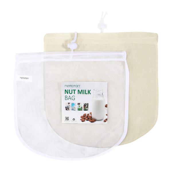 La bolsa de filtro de nylon del tamiz de la comida de la malla fina para el jugo frío 2pcs del café de la cerveza de la tuerca casera