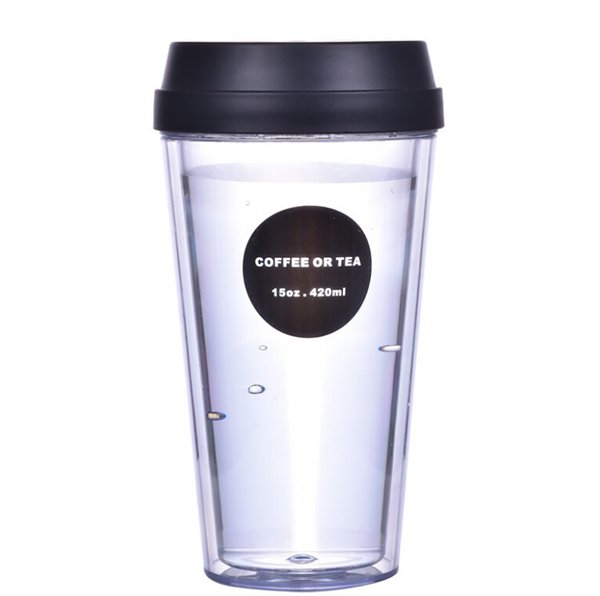 double leakproof plastic drink cups student outdoor travel hand cups portable coffee cup creative juice cup
