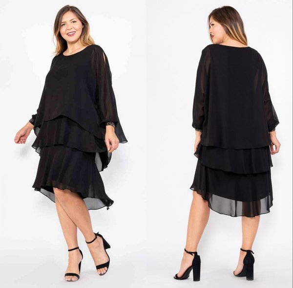 best selling 3 Tiers Black Chiffon Mother of the Bride Dresses Knee Length Elegant Women Formal Wear Long Sleeve Mother Dress