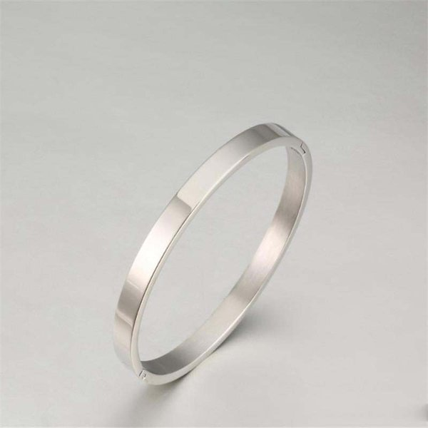 or Rose Gold Gold Stainless Steel Simple Polished Bangle Bracelet Silver