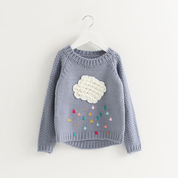 Venta caliente lindo suéter caliente para las niñas niños nube de manga larga suéter de la muchacha del cuello de O suéteres flojos niño suéter Tops ropa