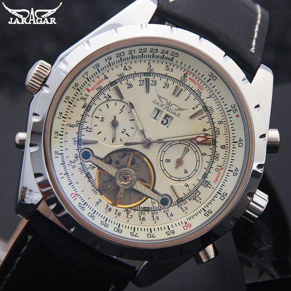 2019 NEW JARAGAR Men Mechanical Watches Brand Luxury Men'S Tourbillon Genuine Leather Band Watches Black Auto Date