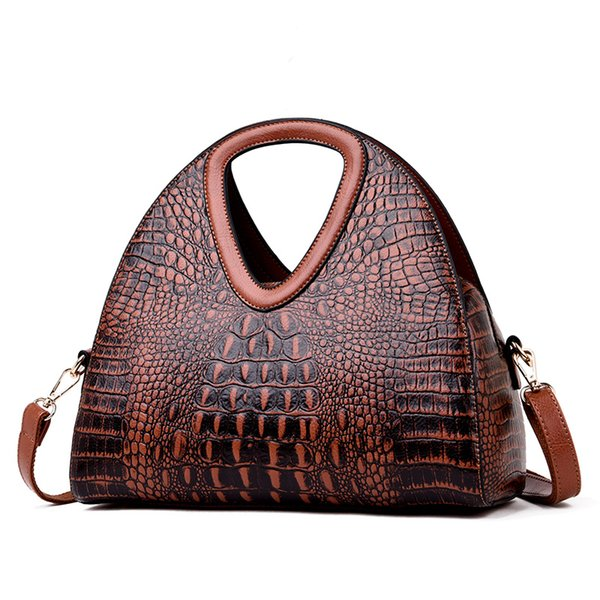 2019 New Alligator Women Handbag Brand Leather Half Moon Women Shoulder Bags Designer Ladies Hand Bags Sac A Main Femme