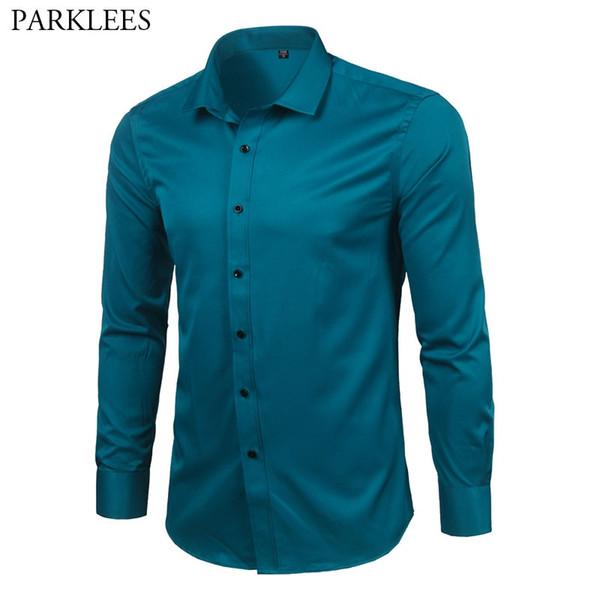 46f7d6ffc1d8 Men's Bamboo Fiber Dress Shirts Slim Fit Solid Long Sleeve Causal Button  Down Shirts Men Elastic
