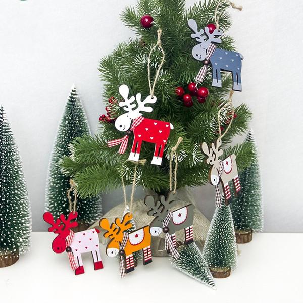 Cartoon Elch Anhänger Holz Gemalt Haning Deer Ornamente Für Weihnachtsbaum Dekoration Geschenke Anhänger Heißer Verkauf 1 8xb E1