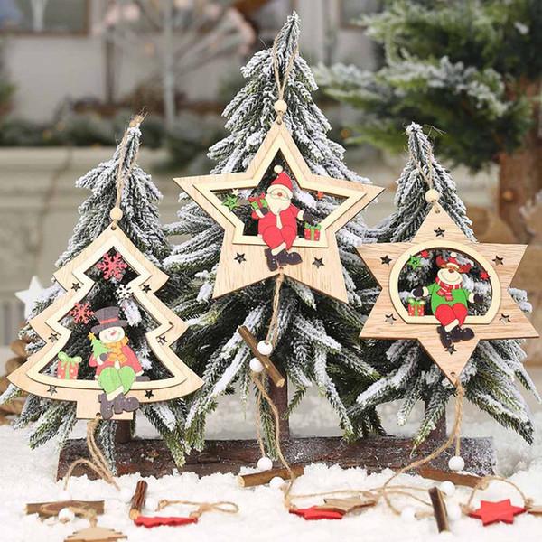 1 PCS Étoile De Noël En Bois Pendentifs Ornements De Noël Arbre Ornement DIY En Bois Artisanat Enfants Cadeau pour La Maison De Noël Décorations De Fête