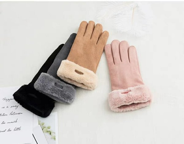 Sheng Qi 2018 gloves female winter lovely Korean version of the students warm pile thickened cycling five-finger wind touch screen gloves