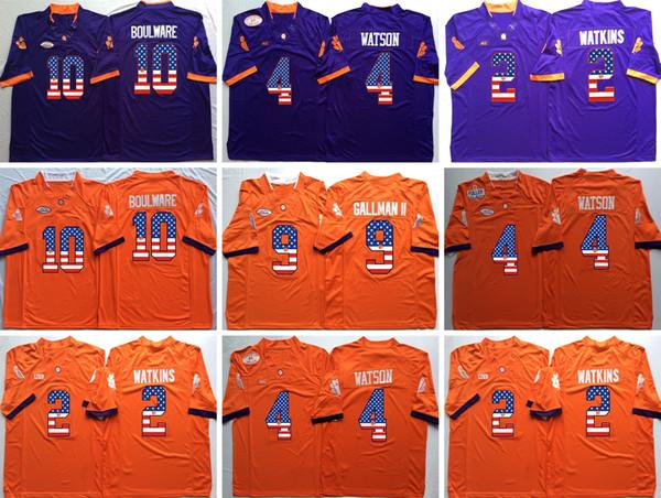 Cheap NCAA Clemson Tigers College 9 Gallman II 4 Deshaun Watson 2 Sammy Watkins 10 Boulware College Football Orange Blue Flag Jerseys