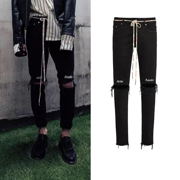 2019 new high quality Celebrity Same paragraph Drawstring Knife cutting Hole letter embroidery black elastic force Small feet slim jeans