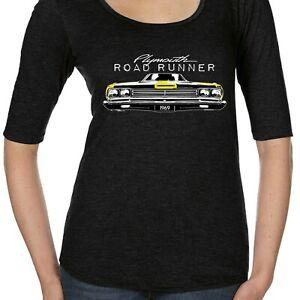 Signore licenza Plymouth Roadrunner Scoop NeArrive T shirt Classic American 60 039 s Car