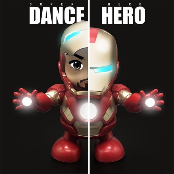 Danse Hero Iron Man Figurine Jouet Robot LED lampe de poche avec son Avengers Iron Man Hero Jouet électronique avec boîte jouets pour enfants TSS330