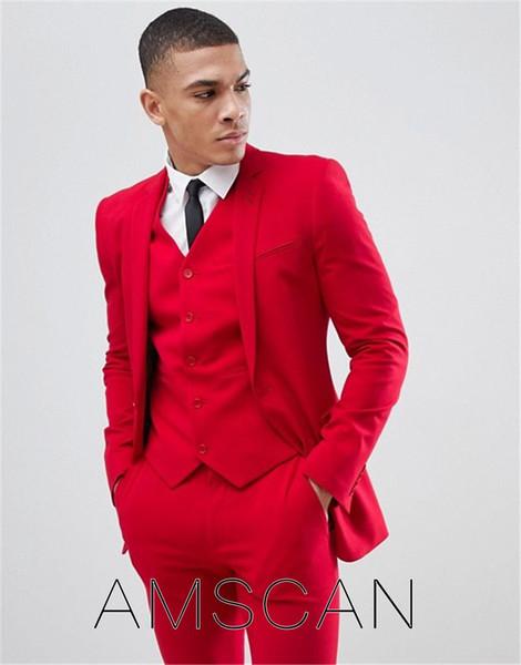 Solid 3 шт Красный Мужские костюмы Slim Fit Нотч Groom Tuxedos Формальное Blazer Бизнес Свадьба партии шафером костюмы (куртка + брюки + жилет)