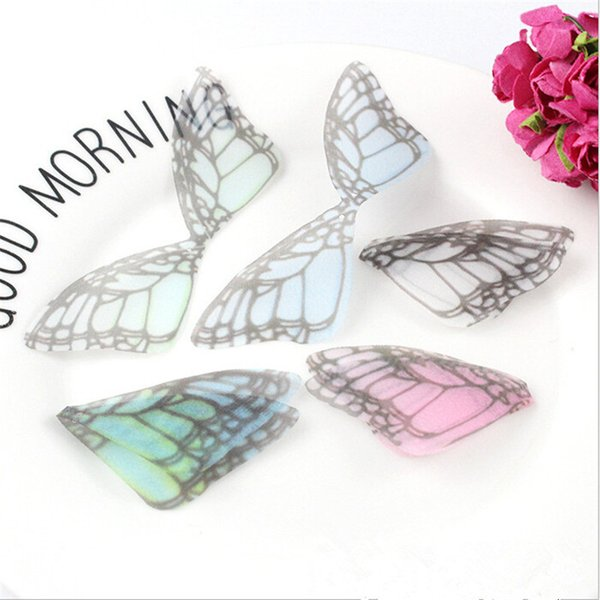 200pcs/lot new creative charms chiffon yarn butterfly wing pendant for diy earrings jewelry making handmade material accessories