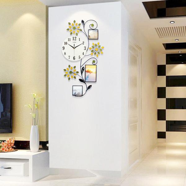 Acquista Orologio Da Parete A Fiori Design Moderno Grande Orologio Da  Parete Digitale A Led 3D Orologio Da Cucina Casa Camera Da Letto Con  Cornice ...